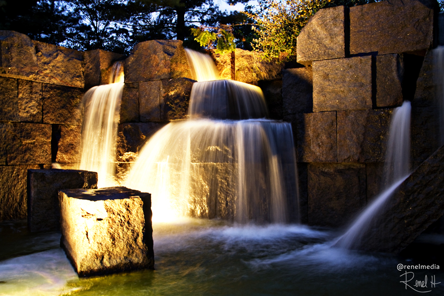 Waterfalls at Franklin D. Roosevelt Memorial - photo by Renel Holton - www.renelholton.com / 2309edit