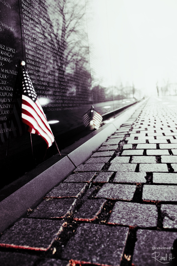 Flag at Vietnam War Memorial - photo by Renel Holton - www.renelholton.com / 2451edit