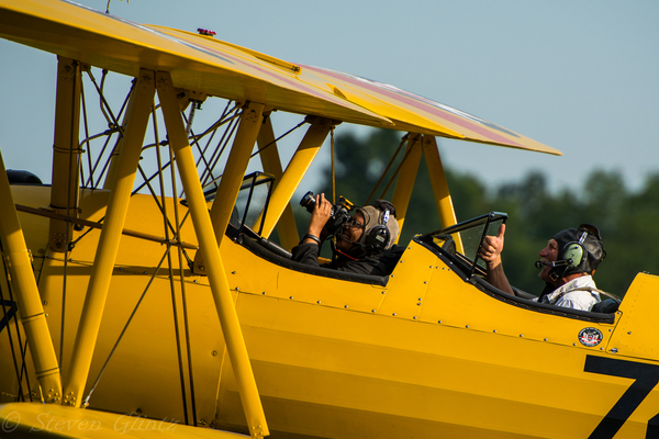 My first open cockpit flight in a BT17 Stearman at the Flying Circus Balloon Festival in Bealeton, VA. (Photo by Steven Glintz.)